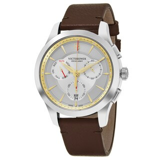 Swiss Army Men's V241750 'Alliance' Silver Dial Brown Leather Strap Chronograph Swiss Quartz Watch