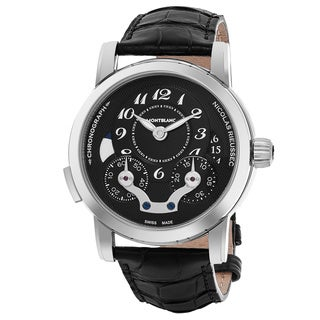 Mont Blanc Men's 106488 'Nicolas Rieussec' Black Dial Black Leather Strap Chronograph Swiss Automatic Watch