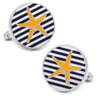 Striped Starfish Multicolor Metal Cufflinks|https://ak1.ostkcdn.com/images/products/12873183/P19633913.jpg?impolicy=medium