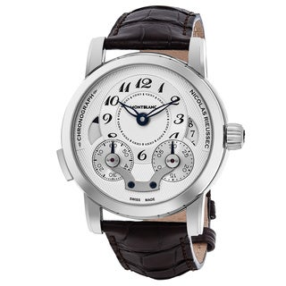 Mont Blanc Men's 106487 'Nicolas Rieussec' Silver Dial Brown Leather Strap Chronograph Swiss Automatic Watch