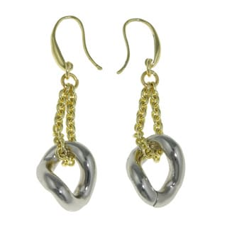Isla Simone - 18 Karat Gold Electro-Plated Drop Earrings With Silver Plated Twisted Links