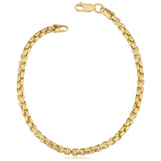 Fremada 14k Yellow Gold Filled 3.5-mm Round Box Link Chain Bracelet (7.5 or 8.5 inches) (2 options available)