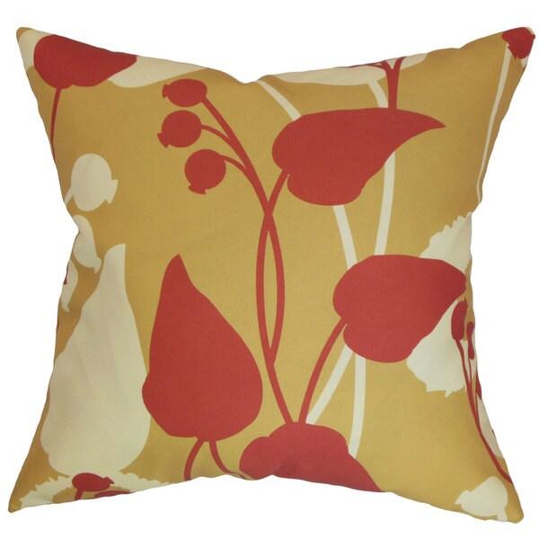 Gardenia Floral Euro Sham Gold/Red