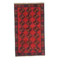 Beluchi Red Hand-knotted Wool Rug (4' x 6')