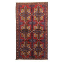 Beluchi Red Wool Hand-knotted Rug (4' x 6')