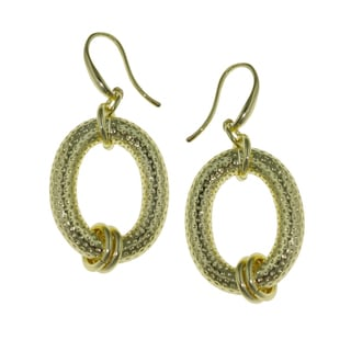 Isla Simone - 18 Karat Gold Electro Plated Oval Textured Earring With Links