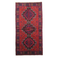 Hand-knotted Beluchi Red Wool Rug (4 x 6)