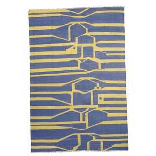 Hand-knotted Fala Blue/Yellow Wool Rug (5' x 8')