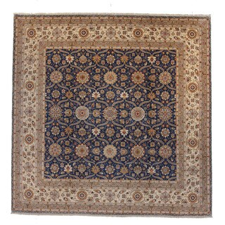 Murray Blue/Brown Wool Hand-knotted Rug (10' x 10')