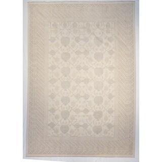 Khotan Ivory Wool Area Hand-knotted Rug (10' x 14')