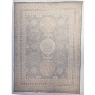 Khotan Blue Wool Hand-knotted Oriental Area Rug (9' x 12')