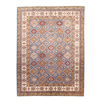 Kazak Blue Hand-knotted Wool Rug (9' x 12')