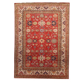Kazak Red Wool Hand-knotted Oriental Area Rug (9' x 12')