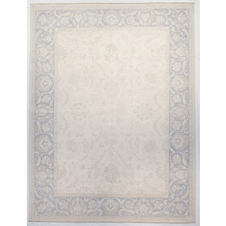 Peshawar Ivory/Blue Wool Hand-knotted Rug (9' x 12')