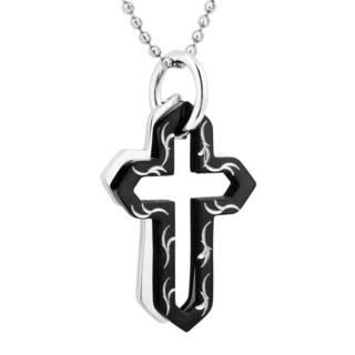 Men's Stainless Steel Double Cross Pendant