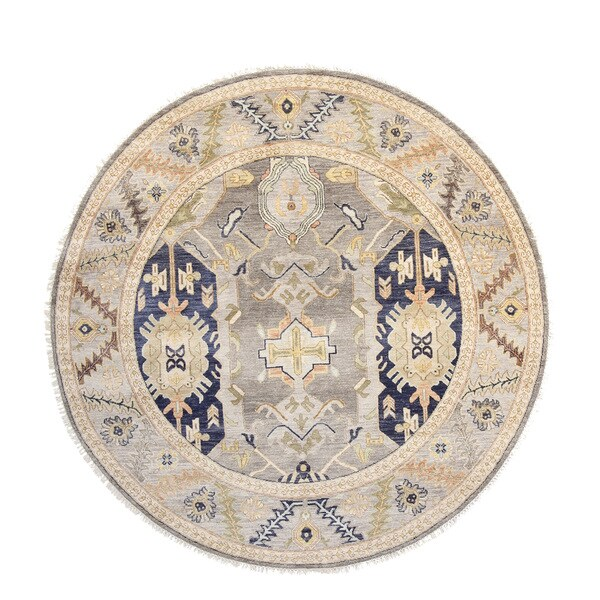 Fine Round Persian Bidjar Area Rug Hand Knotted Wool And: Shop Oushak Grey Wool Hand-knotted Oriental Area Rug (6' X