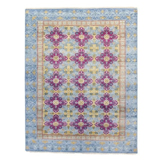 Yves Blue Wool Hand-knotted Rug (8' x 10')
