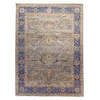 Oushak Gray/Blue Wool Hand-knotted Rug (9' x 12')