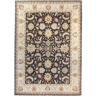 Agra Black Wool Hand-knotted Rug (8' x 10')