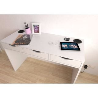 Tvilum White MDF Station Desk with Charging Station and Speakers