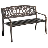 "Char-log A Product of Leigh-country TX94101 51"" L X 24"" W X 34"" H Metal Welcome Bench"