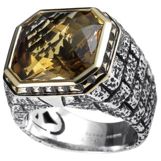 Stephen Webster Sterling Silver and Yellow Gold Beer Quartz Ring