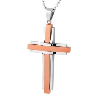 Men's Stainless Steel Plated Cross Pendant