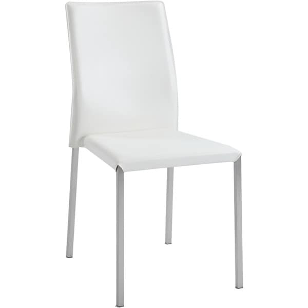Somette Raika White Sleek Back Stackable Dining Chairs Set Of 4
