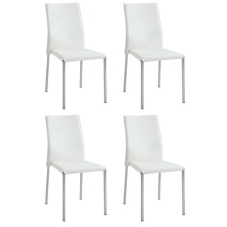 Christopher Knight Home Raika White Sleek Back Stackable Side Chairs (Set of 4)