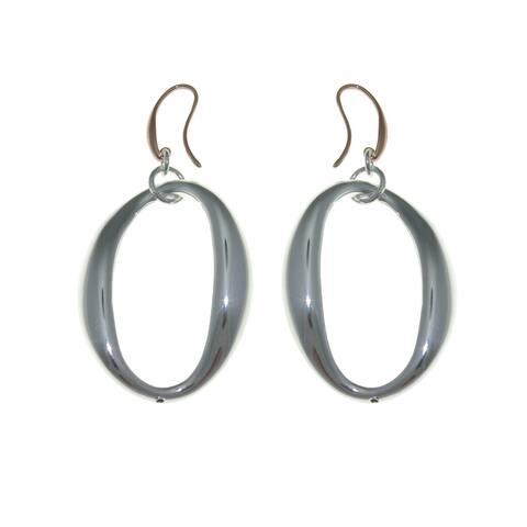 Isla Simone - Fine Silver And 18 Karat Rose Gold Electro Plated Oval Eletroform Earring