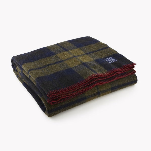 Faribault Foot Soldier Shadow Plaid Twin-size Wool Blanket