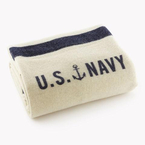 Faribault Foot Soldier Military US Navy Cream Twin Blanket
