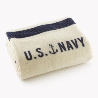 Faribault Foot Soldier Military US Navy Cream Twin Blanket