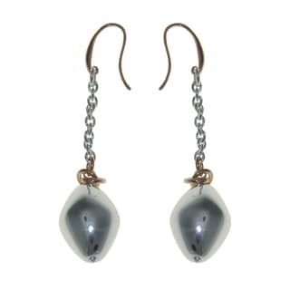 Isla Simone - Fine Silver And 18 Karat Rose Gold Electro Plated Teardrop Eletroform Earring