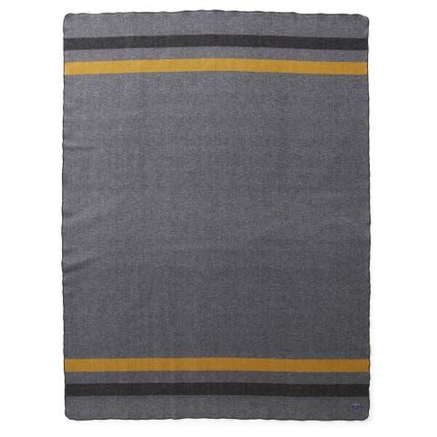 Faribault Foot Soldier Military Blanket in Grey-Black-Gold Twin