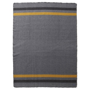 Faribault Foot Soldier Military Blanket in Grey-Black-Gold Twin