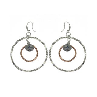 Isla Simone - Fine Silver And 18 Karat Rose Gold Electro Plated Earring With Waffle Rings And Faceted Beads