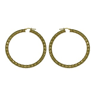 Isla Simone - 18 Karat Gold Electro Plated 4.5Mm X 60MM Round Faceted Hoop Earring
