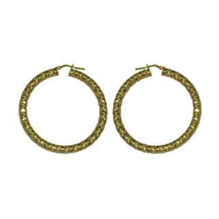 Isla Simone - 18 Karat Gold Electro Plated 4.5Mm X 50MMRound Faceted Hoop Earring