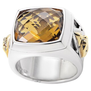 Stephen Webster Men's London Calling Silver and 18k Yellow Gold Whiskey Quartz Ring