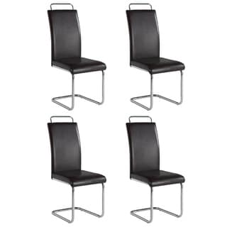 Christopher Knight Home Selena Modern Cantilever Brown Dining Chair with Handle (Set of 4)