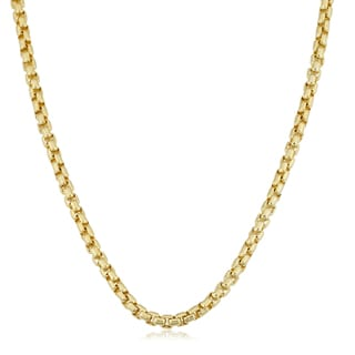 Fremada 14k Yellow Gold Filled 3.5mm Round Box Link Chain Designer Necklace