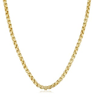 Fremada Yellow Gold Filled 3.5mm Round Box Link Chain Designer Necklace