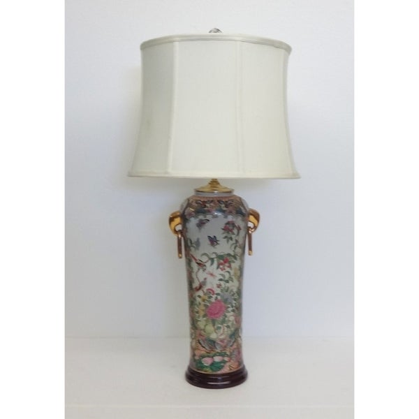 Rose Medallion Elephant Ear Porcelain 1-light Table Lamp