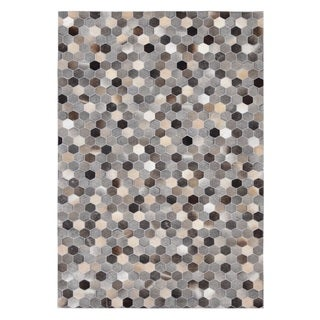 Grey Cow Hide Leather Hand-stitched Beehive Rug (8' x 10')