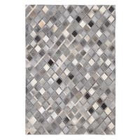 Hand-stitched Diamond Grey Cowhide Leather Rug (5' x 8')