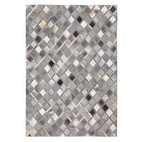 Diamond Grey Cowhide Leather Hand-stitched Rug - 8' x 10'