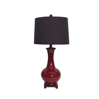 Oxblood Porcelain Drum Shade Table Lamp