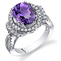 Oravo Sterling Silver Amethyst Cubic Zirconia Gallery Ring