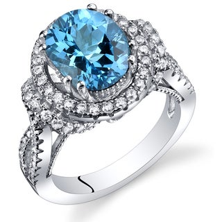 Oravo Women's Sterling Silver 3-carat Swiss Blue Topaz Gallery Ring